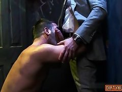Muscle gay threesome with facial