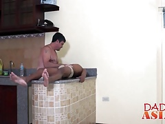 Horny mature gay guy stuffs a young skinny twink in the ass