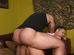 Young black guy gets his tight ass penetrated by a long cock