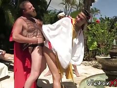 Horny twinks organise a massive orgy fuck fest by the pool