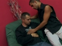 Hairy twink gives a blowjob to some dude and gets his ass torn up