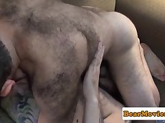 Hairychest bear wanking his fat cock