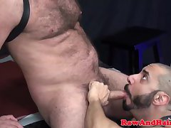 Leather hairy hunk fucked hard