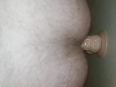 Huge dildo in gay ass