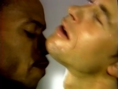 Two horny gays play with each other's dicks in a gym