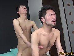 Gay asian tugging cumshot