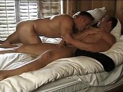 Furious encounter with hefty muscle hunks boners