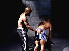 Blue Boxer Ebony Dude Spanked