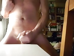 Hairy Boy shot up and eat the cum
