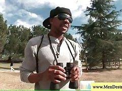 Exploring a park black guy