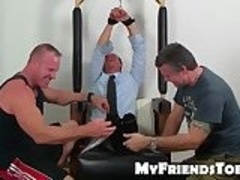 Business man Gordon tied up and tickles hard by friends