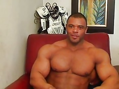 Muscular hunk solo session