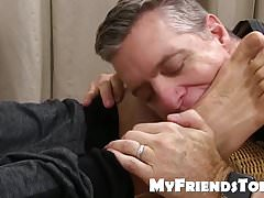 Feet licking and worship with older daddy and muscular hunk