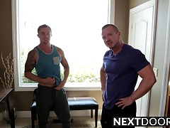 Hardcore drilling with two hot muscular hunks