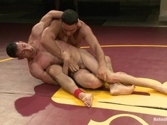 Two handsome gay studs bang on a ring after having a fight