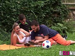 Hot busty babe getting hammered by two bisexual dudes