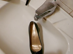 Piss in wifes black patent high heels