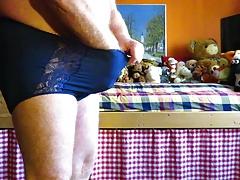 Blue ladypanty with large bulge