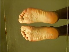 Sissy hot naked feet on glas tabel POV on big soles
