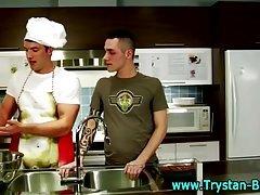 Hot chef gets sausage sucked
