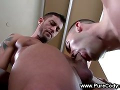 Gay jock sucks cock in his audition whille stroking his own cock