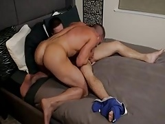 Big muscle lads in threesome fuck