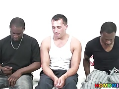 Nervous first timer sucking black cocks to finance his