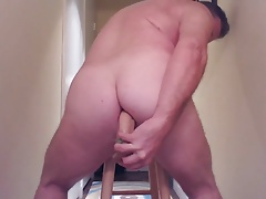 JoeyD taking Huge Anal Dildo on stool