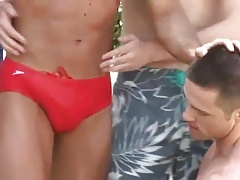 gay threesome  in speedos