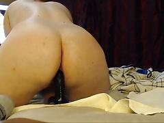 BBC Big Black Cock Dildo Fucking White Bubble Butt Boy Below