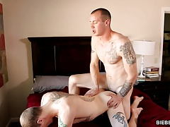 Guy caught masturbating and than he gets fucked