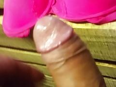 Cum on stranger pink bra