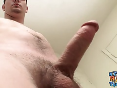 Hung cock sucker Lex Lane masturbates his fat rod solo