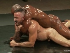 Alessio Romero and Race Cooper play gay games on tatami