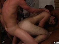 Dark-haired homo gets his mouth and ass banged in group scene