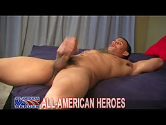 American Tattooed Soldier Masturbating