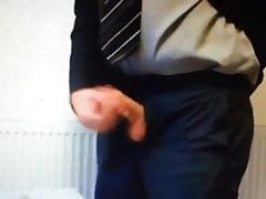 Suited dad wank and cum