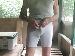 Tight bike shorts show my sissy bulge.