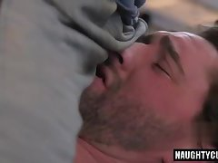 Hairy son bound and cumshot