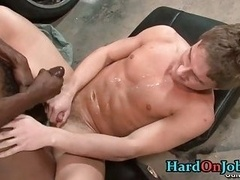 Man-loving fucking and besides blowjobs at the office