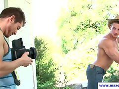 Straight muscular model hunk banged outdoors