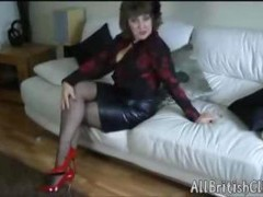 British Grown-up Beauty In Leather Skirt And additionally Patent Red Heels british euro brit european cumshots swallow