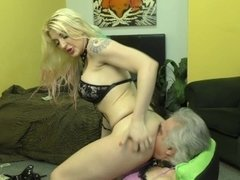 Hooker Makes Her Small Penis Customer Lick Her Asshole - Leya Falcon