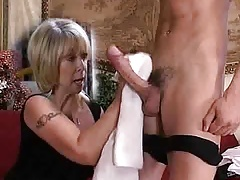 Milf washes his dick