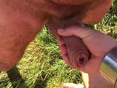 4 guys outdoor (cock sucking, pissing, wanking)