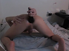 PUNCHING MY SKINNY TWINK ASS WITH A HUGE EGGPLANT