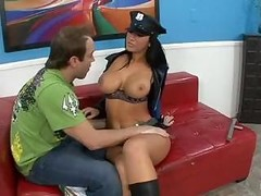 Big-breasted cop Jaydem James questions hard fuck tool with her mouth and also snatch