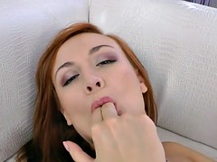 Gaping redhead screwed on all fours