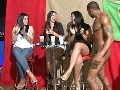 Horny females give head male strippers