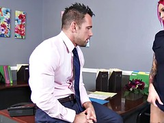 Busty freak woman with big boobs gets pounded on the office desk